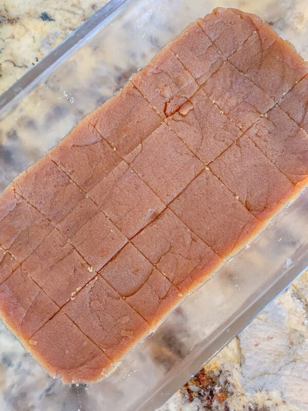 sliced halwa recipe in a loaf pan