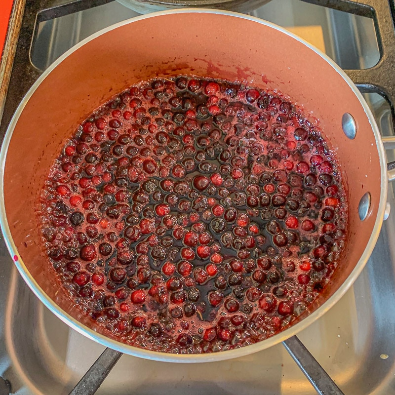 huckleberries in a pot