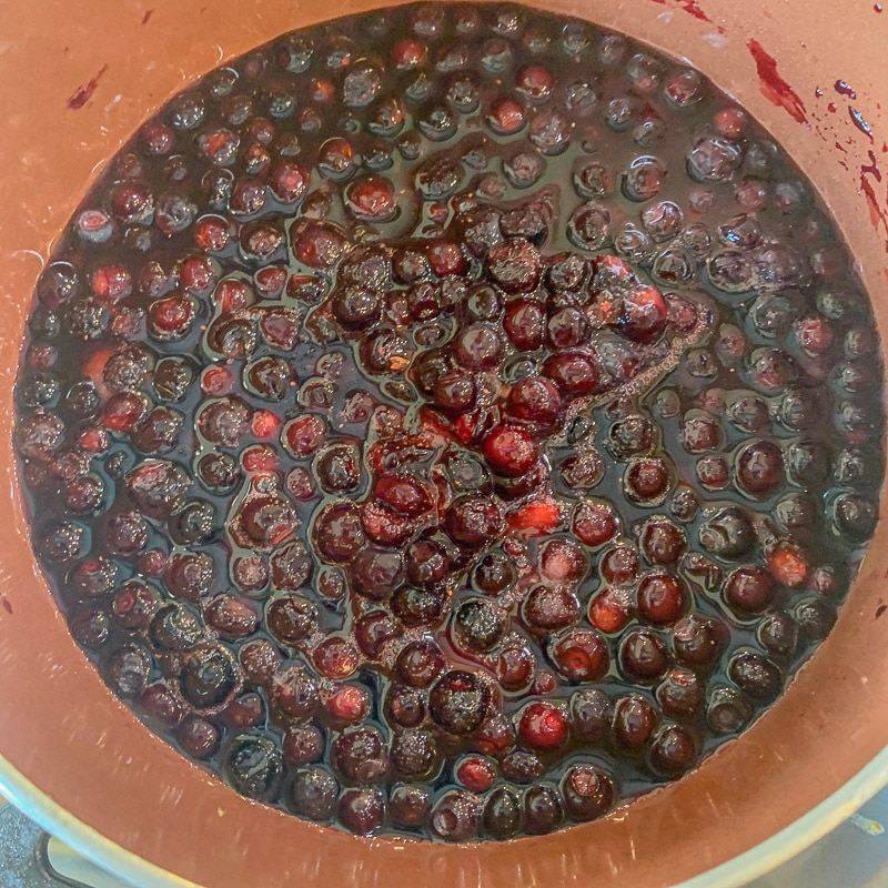 huckleberry sauce in a pot