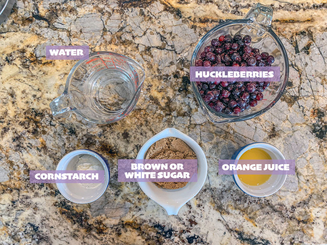 labeled huckleberry sauce ingredients
