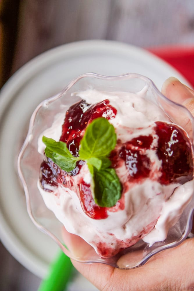 raspberry ice cream topped with mint
