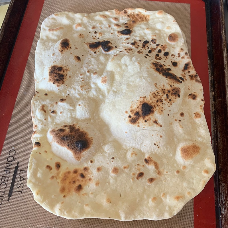 lavash bread on a cookie sheet