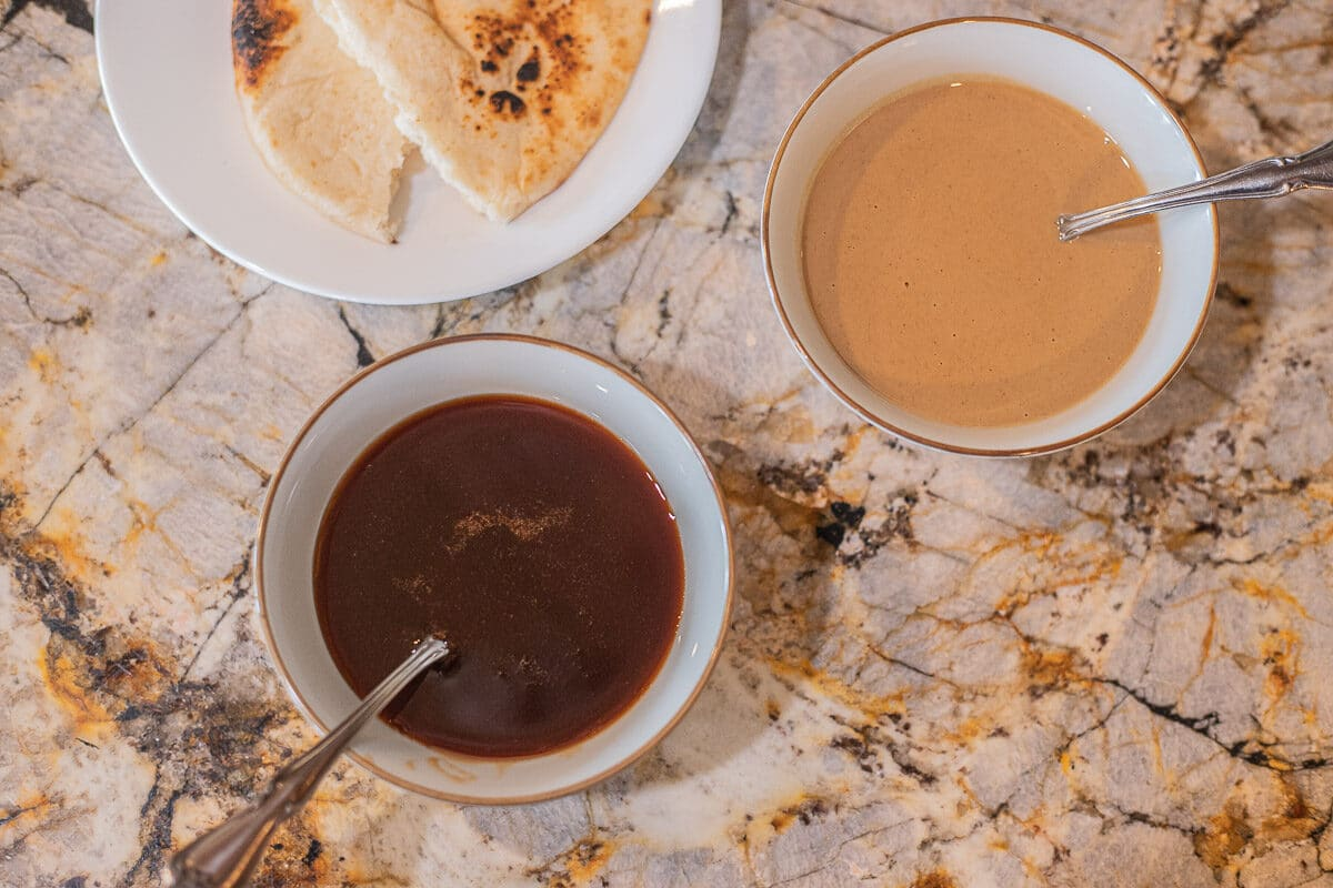 date syrup and tahini with pita bread