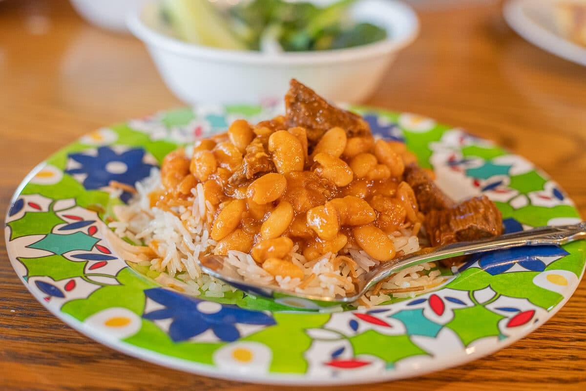 bean stew on rice
