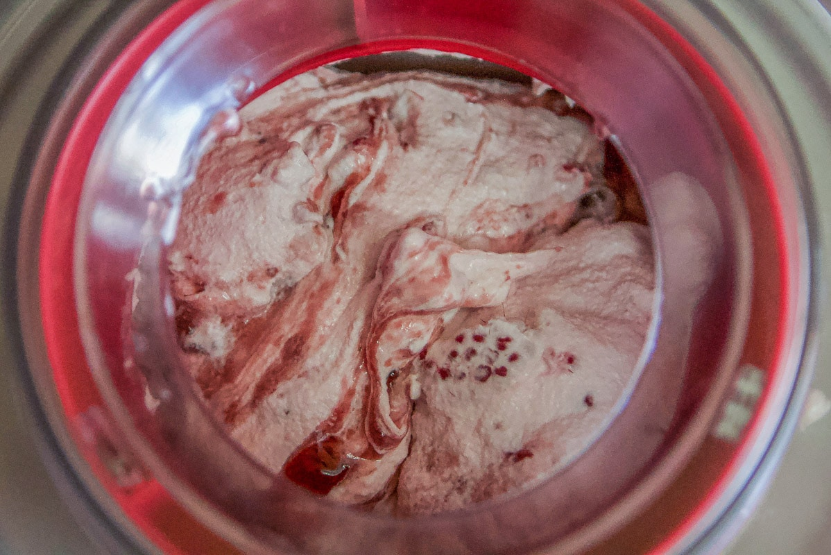 ice cream with raspberries