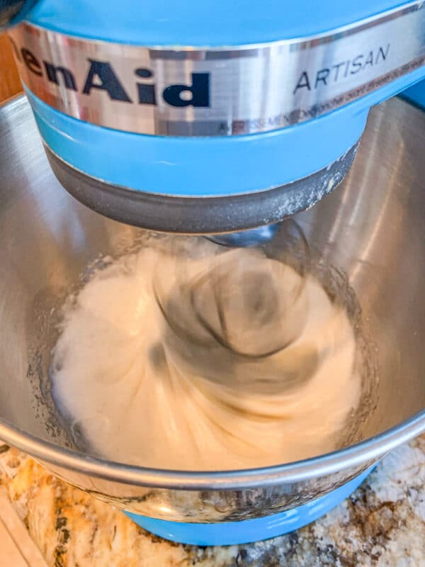 whipping egg whites in mixing bowl