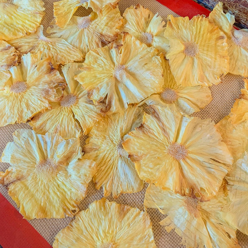 pineapple chips on a baking tray