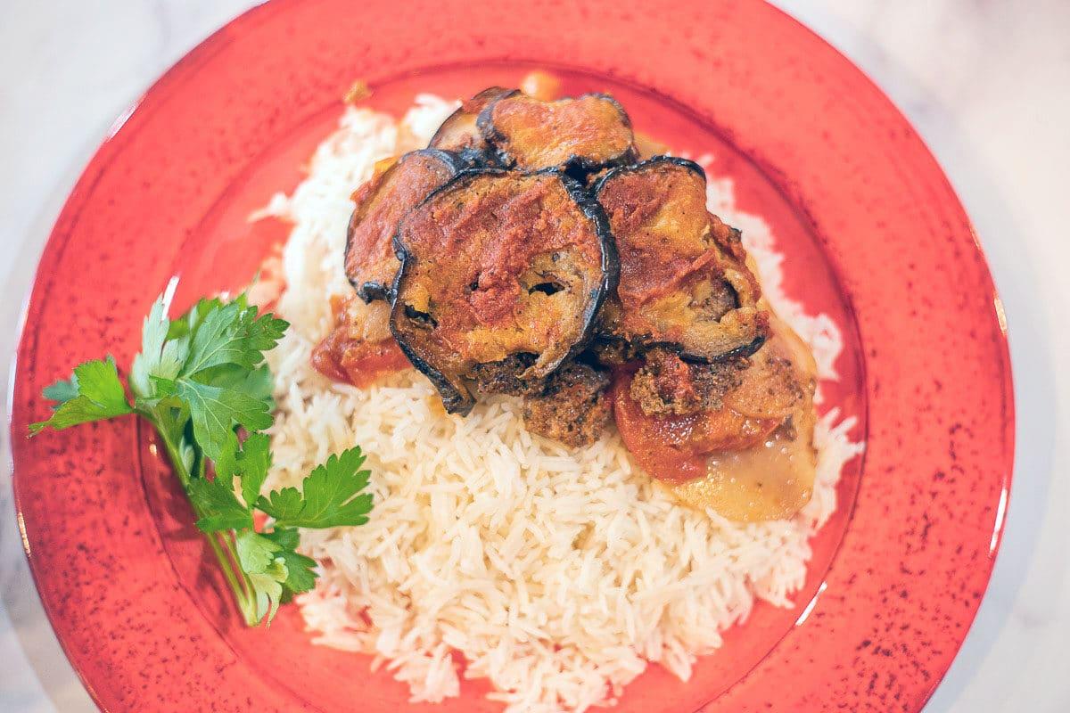 eggplant casserole on white rice