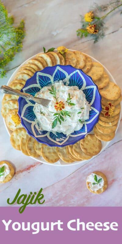 jajik yogurt cheese with crackers