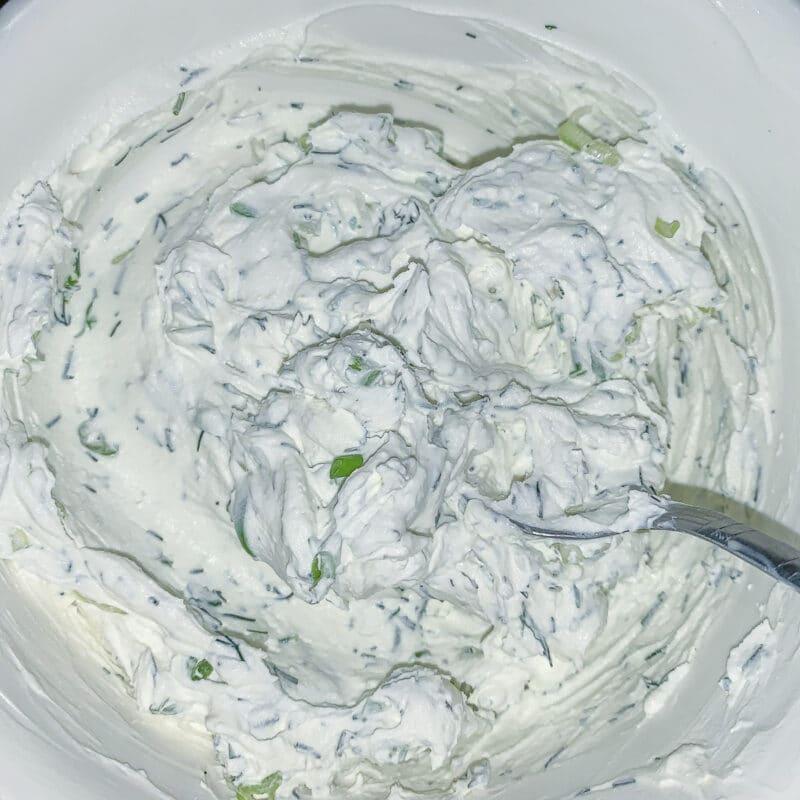 greek yogurt cream cheese in a bowl