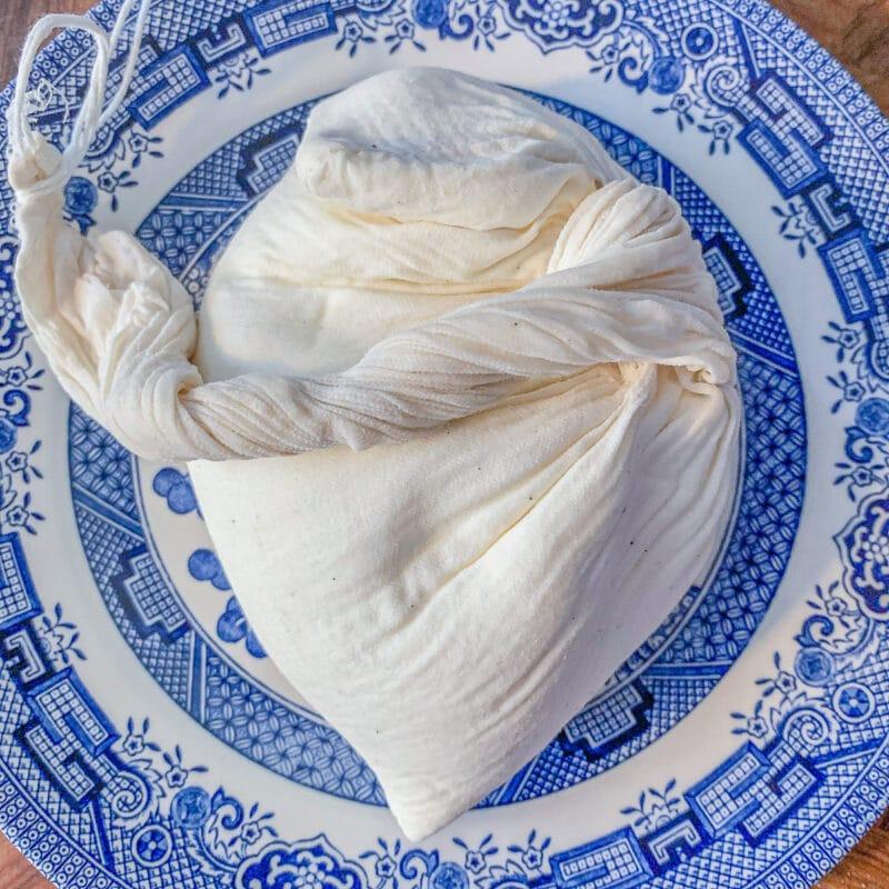 greek yogurt cream cheese in a soup bag