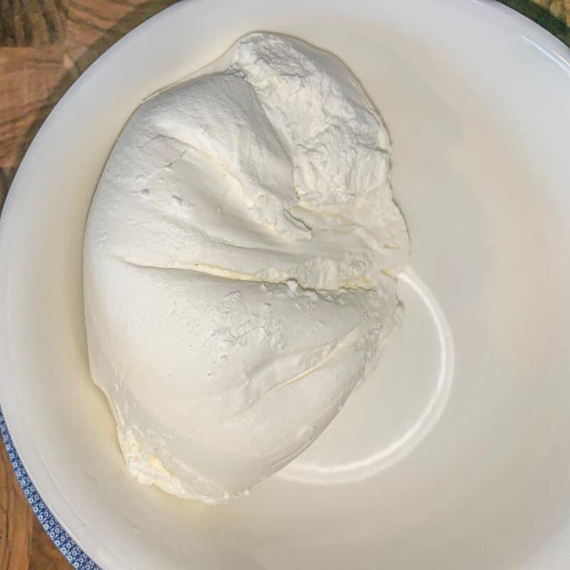 greek yogurt cream cheese in a white bowl