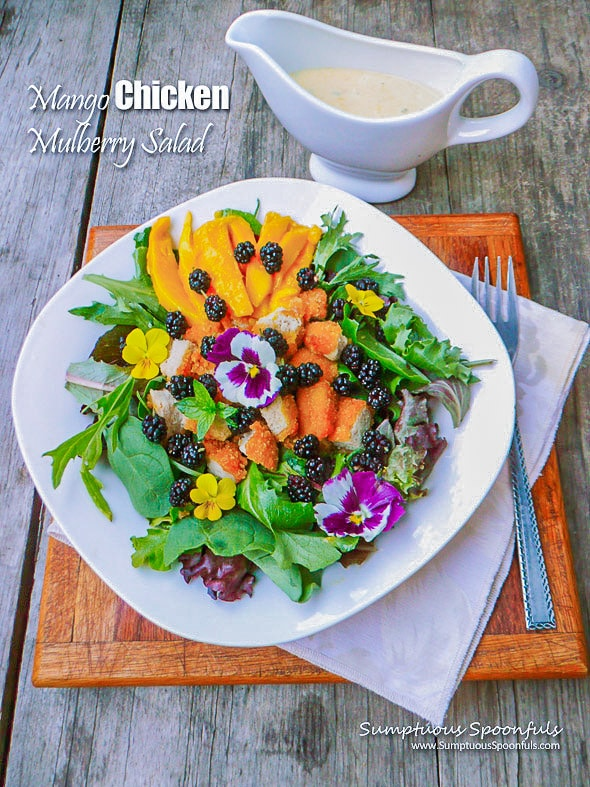 mulberry salad on a white plate over a white napkin and wooden cutting board with dressing on the side