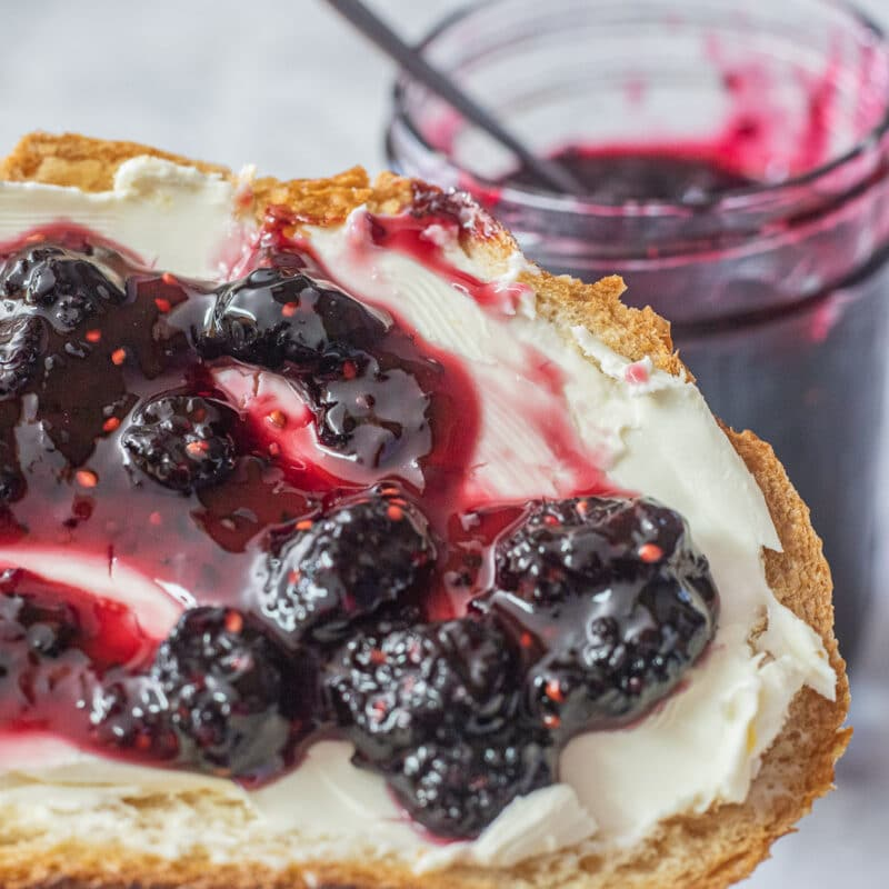 mulberry jam on bread with mulberry jam jar