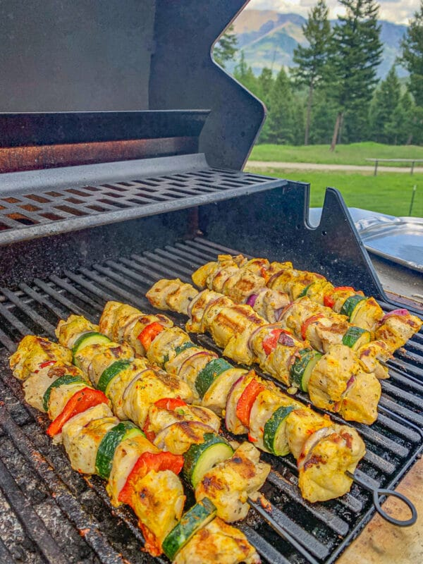 Joojeh kabobs on the grill