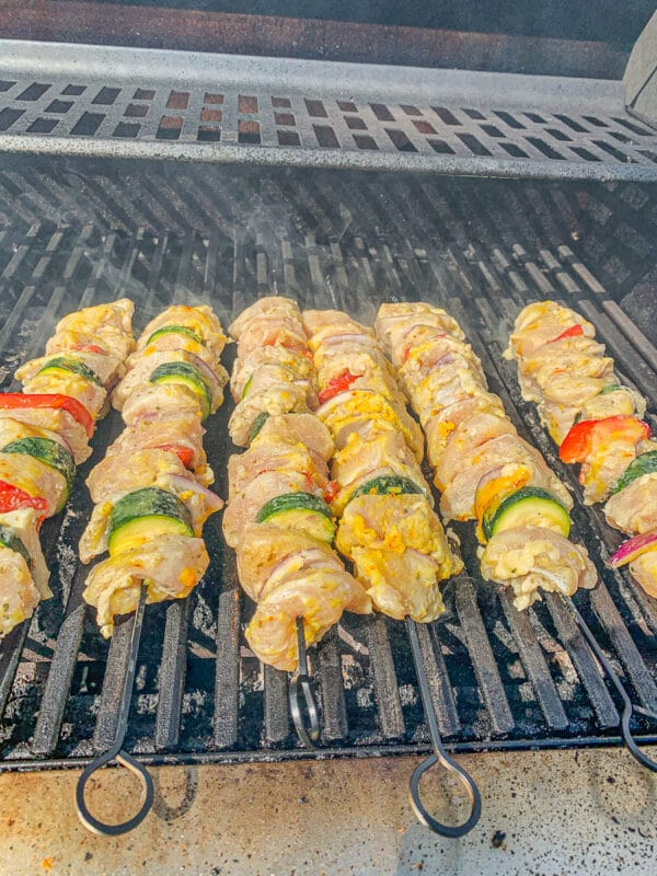 chicken Kabab skewers on a grill