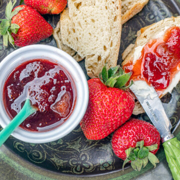 strawberry rhubarb preserves on toast with fresh strawberries