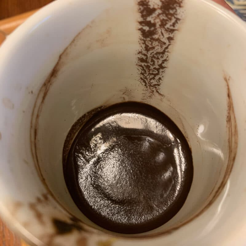 coffee grounds in a Turkish coffee cup