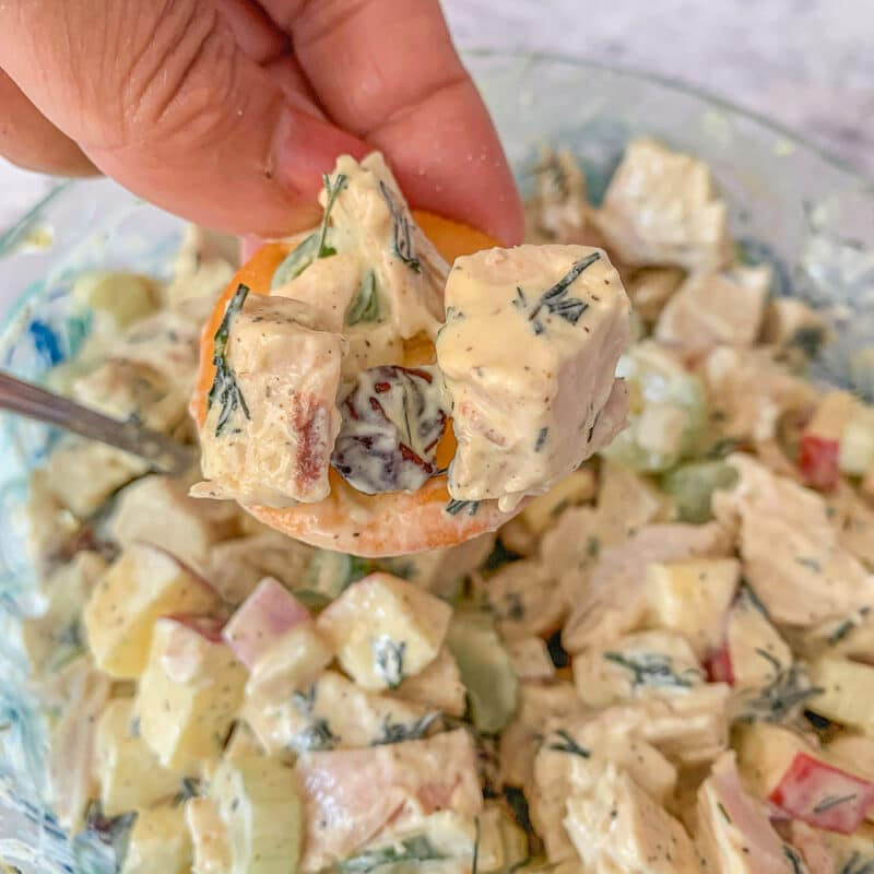 scooping chicken salad from a bowl with a cracker