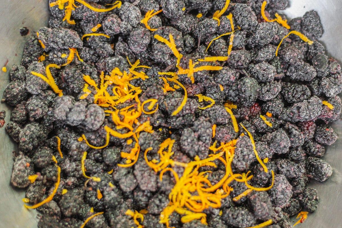 frozen mulberries and orange zest
