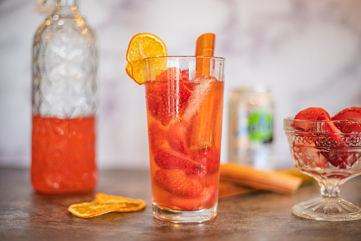 rhubarb gin cocktail in a glass with orange slices and strawberries