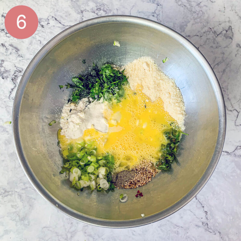corn fritter ingredients in a silver bowl