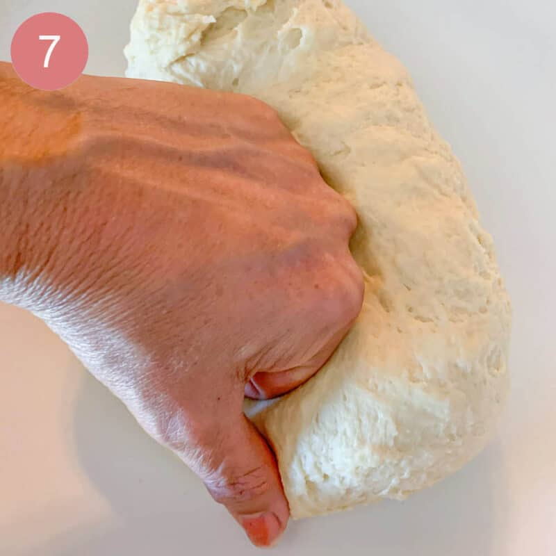 kneading dough with one hand