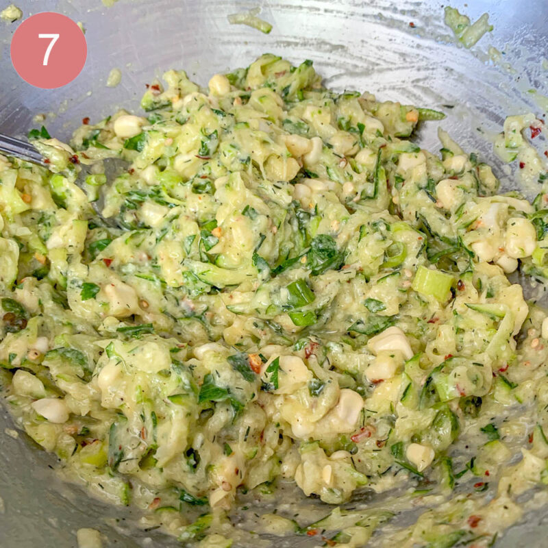 zucchini and corn batter in a bowl