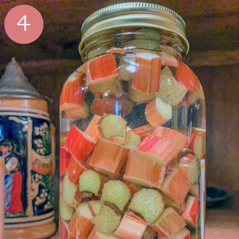 a mason jar with chopped rhubarb and gin in a jar
