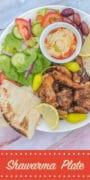 shawarma plate with hummus and salad pin
