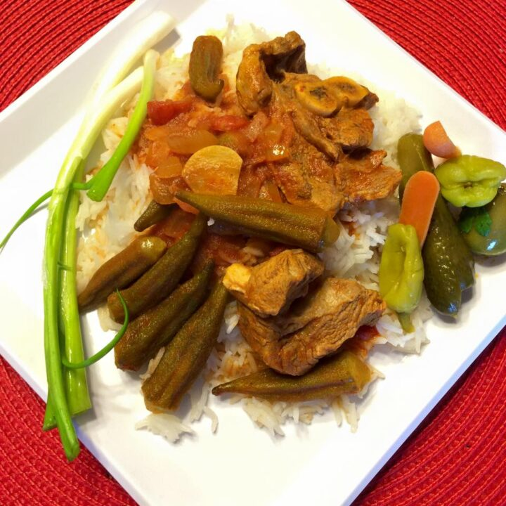 okra stew over rice with pickles