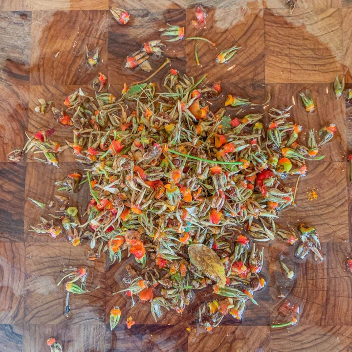 rose hip stems on a cutting board