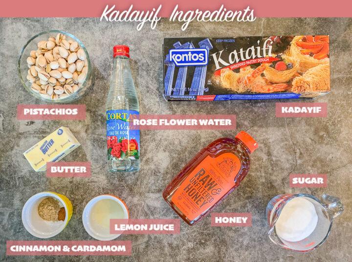 labeled kadayif ingredients