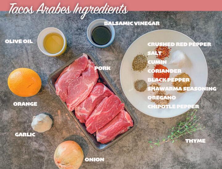 tacos Arabes Puebla labeled ingredients