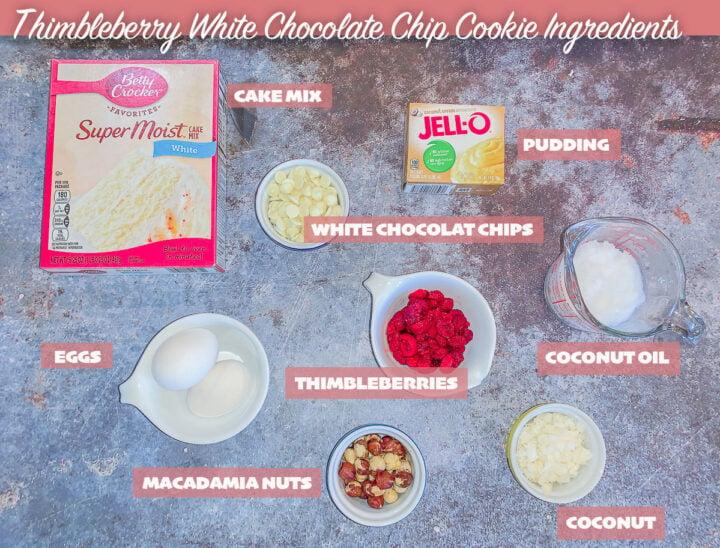 cookie ingredients, labeled