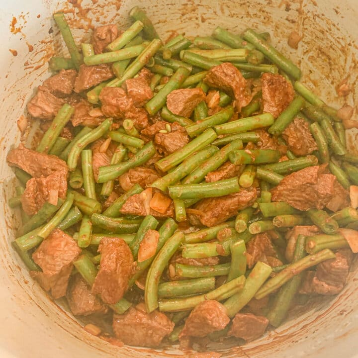 stew meat and green beans in an instant pot