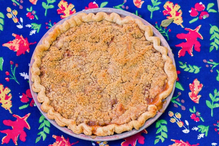 pear pie on a blue flowered kitchen towel