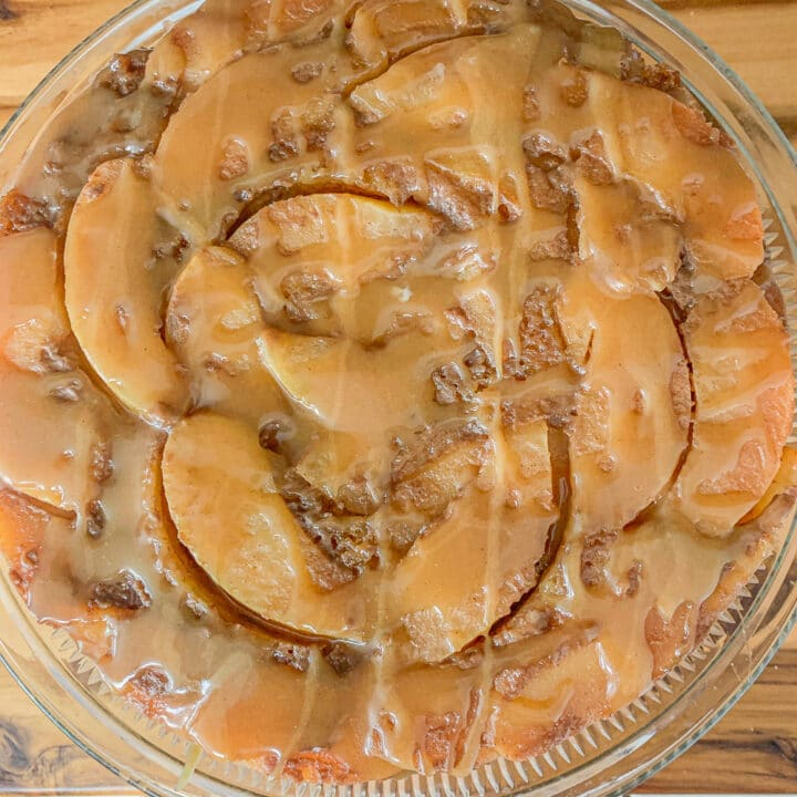 quince cake with caramel drizzle