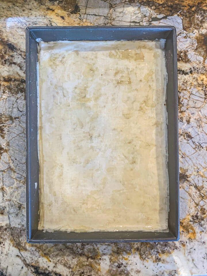 unbaked pan of baklava