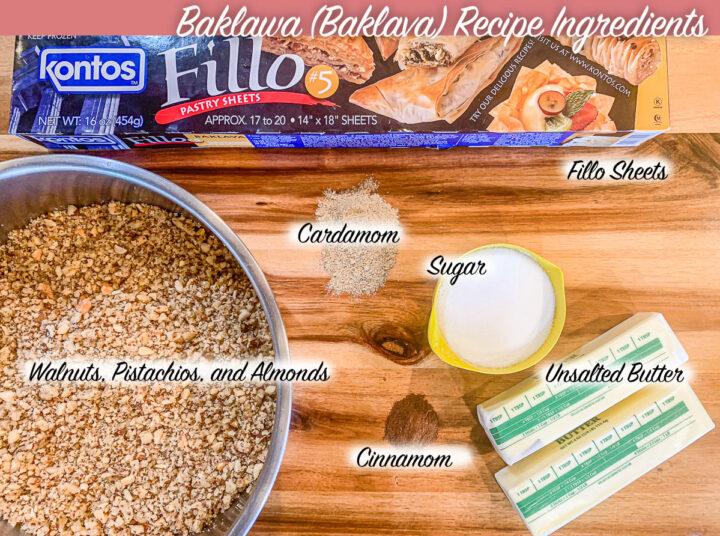 Baklawa ingredients, labeled