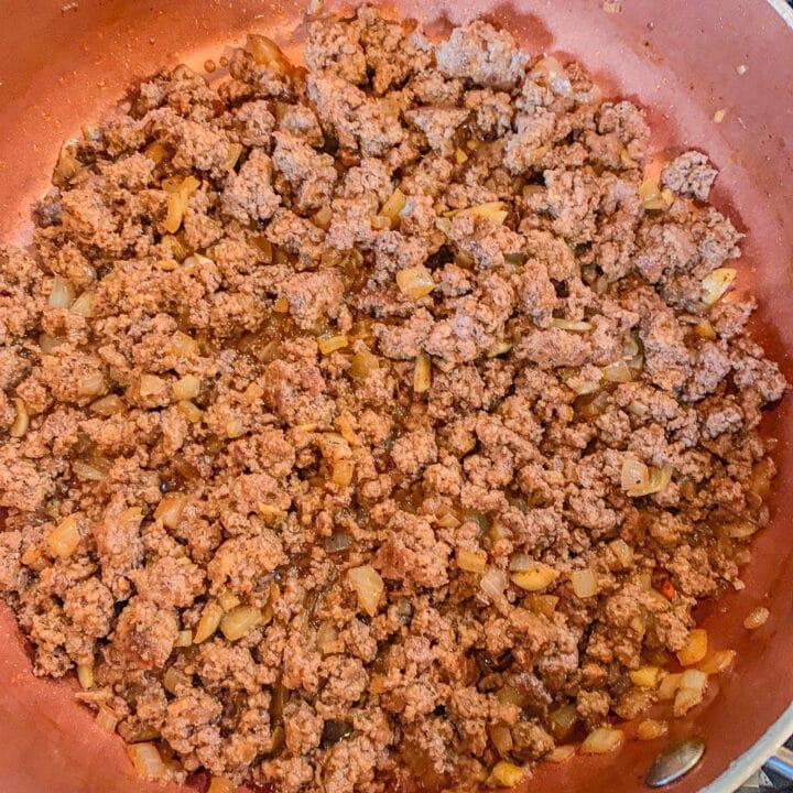 seasoned ground beef in a pan