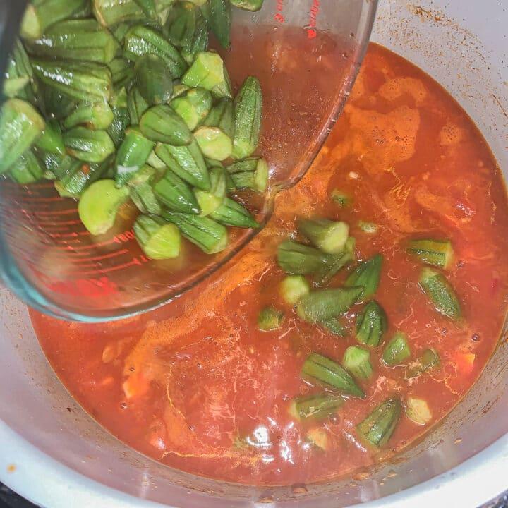 adding okra to bamia stew
