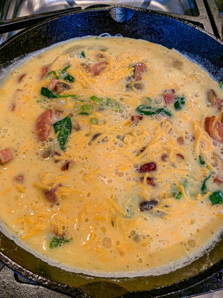low carb frittata ingredients in a pan