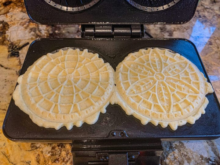 pizzelle on a pizzelle iron