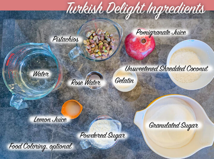 labeled Turkish delight ingredients