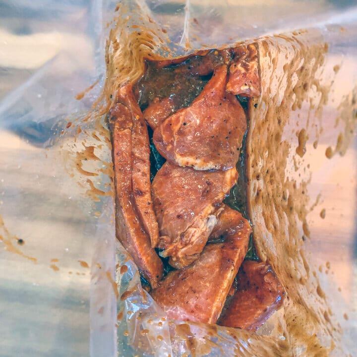 pork strips in marinade