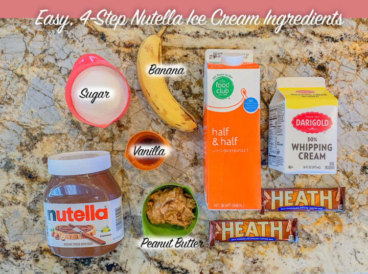 Nutella ice cream ingredients, labeled