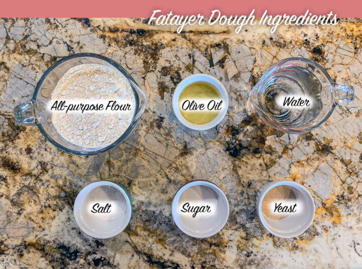 Fatayer dough ingredients, labeled