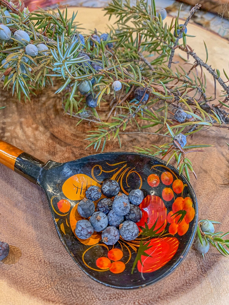 juniper berries in a colorful spoon