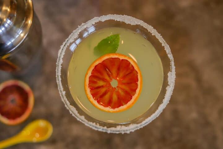 top view of limoncello martini